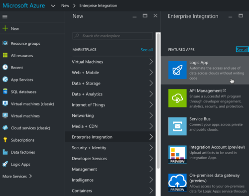 "Trying out the ""standard"" and ""enterprise"" templates in Azure Logic ..."