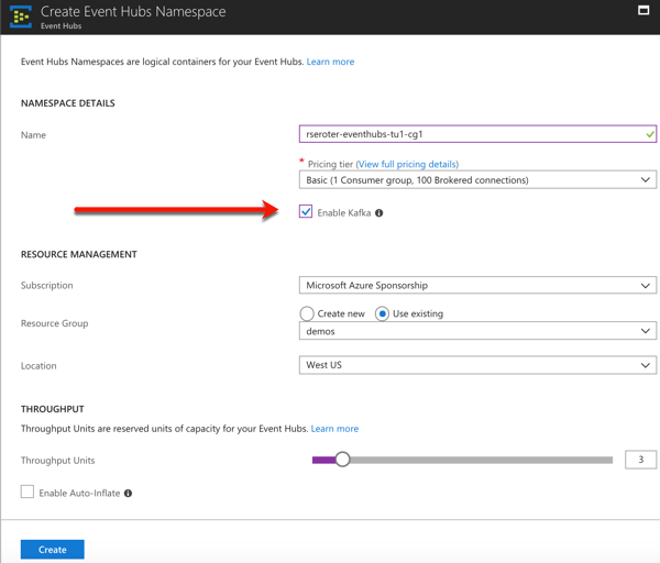 How to use the Kafka interface of Azure Event Hubs with